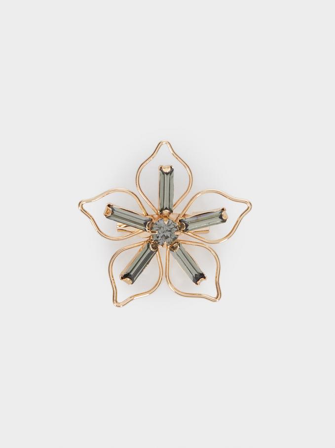 Flower Brooch, Golden, hi-res