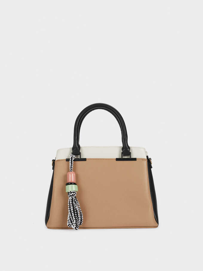 Colour-Block Tassel Tote Bag, Brown, hi-res