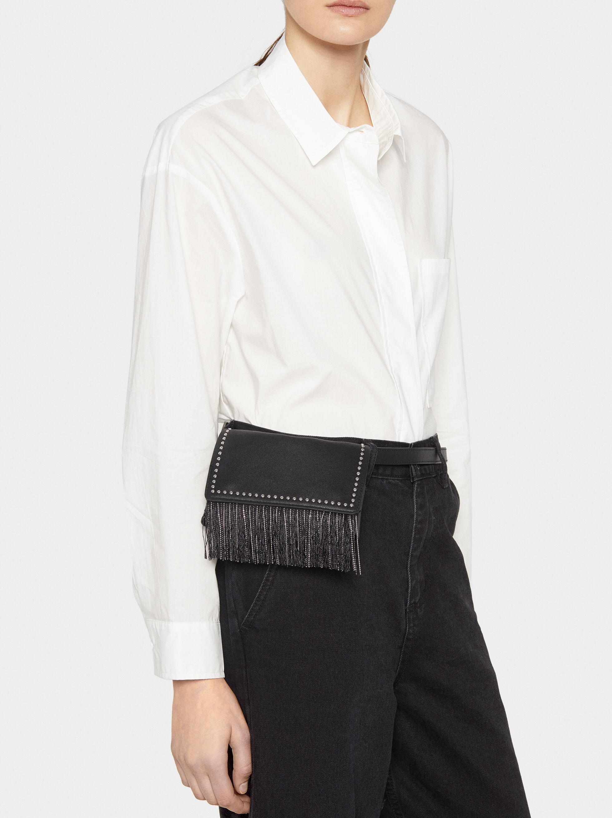 Belt Bag With Studs, Black, hi-res
