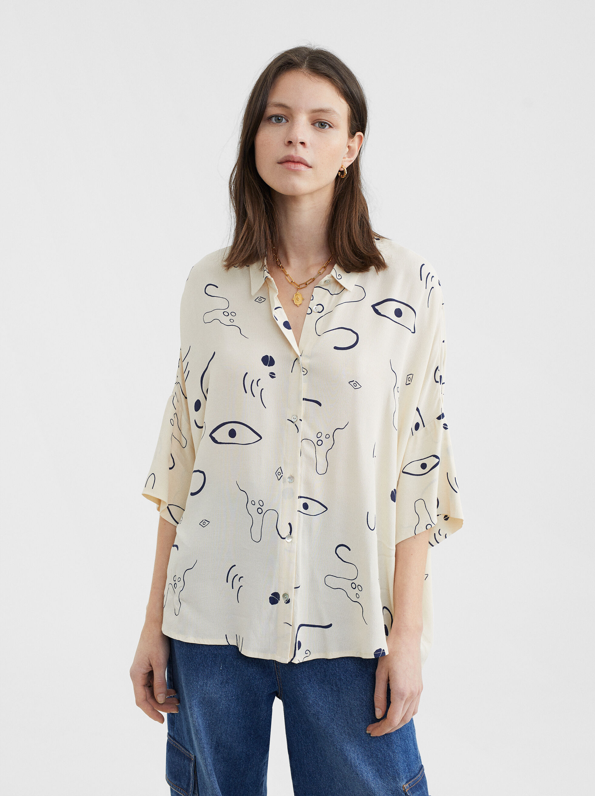 Printed Shirt, Ecru, hi-res
