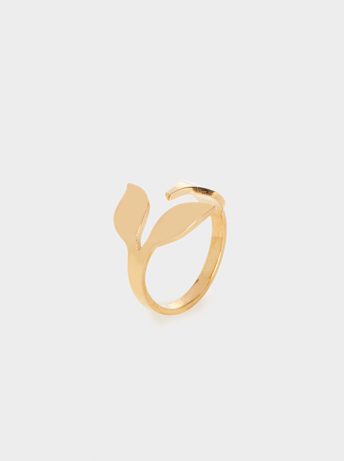Leaf Steel Ring, Golden, hi-res