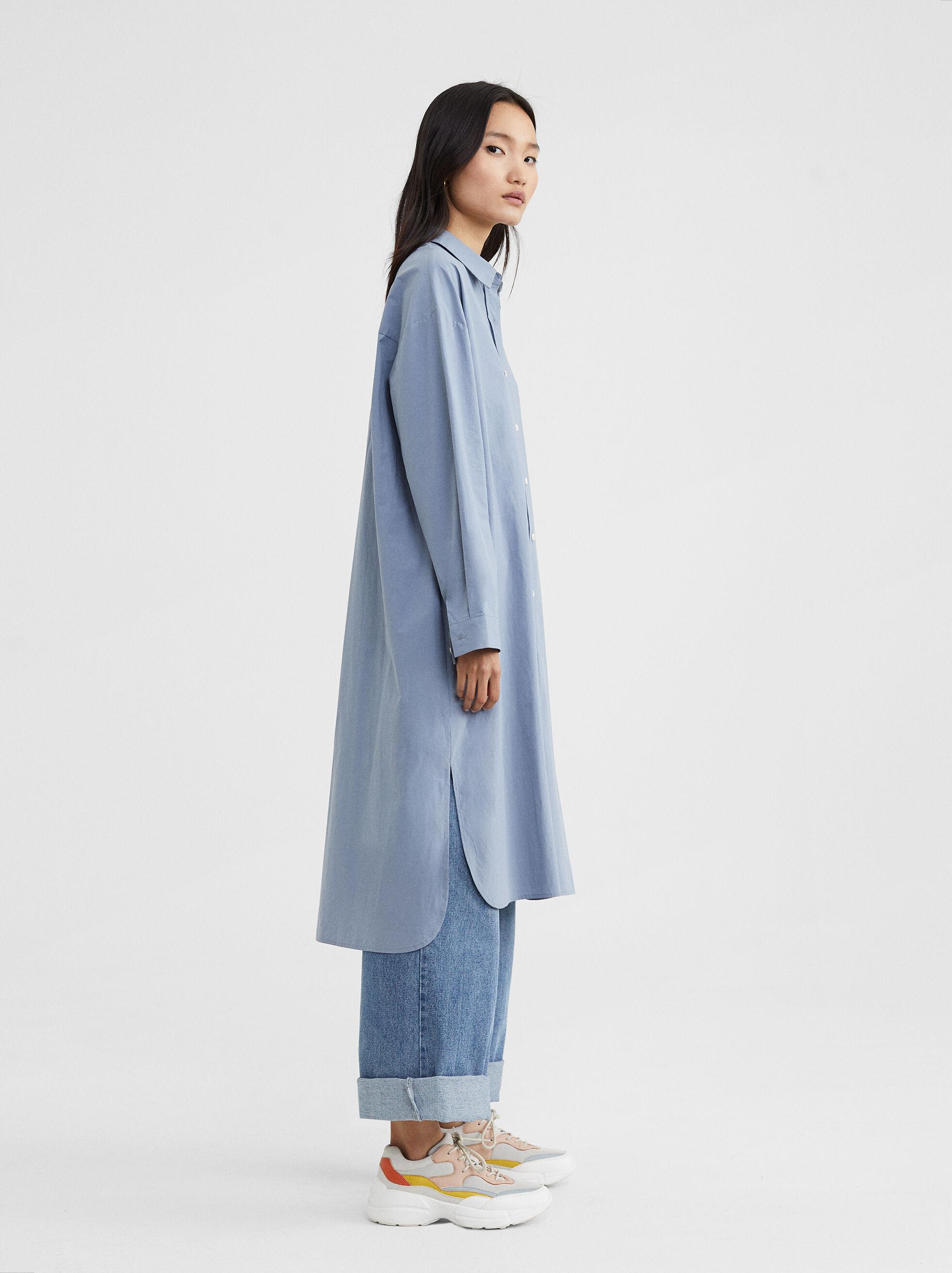 Long Shirt Dress, Blue, hi-res