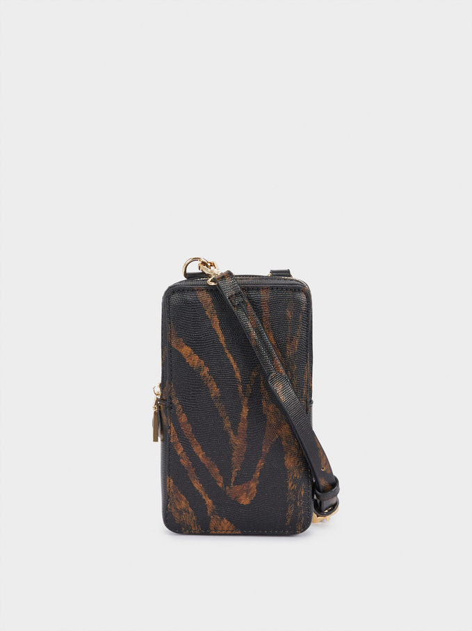 Animal Printed Phone Case With Crossbody Strap, Black, hi-res