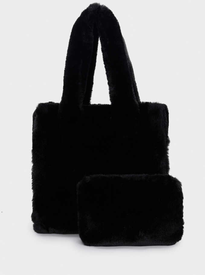 Bolso Shopper Reversible Con Interior Extraible, Negro, hi-res