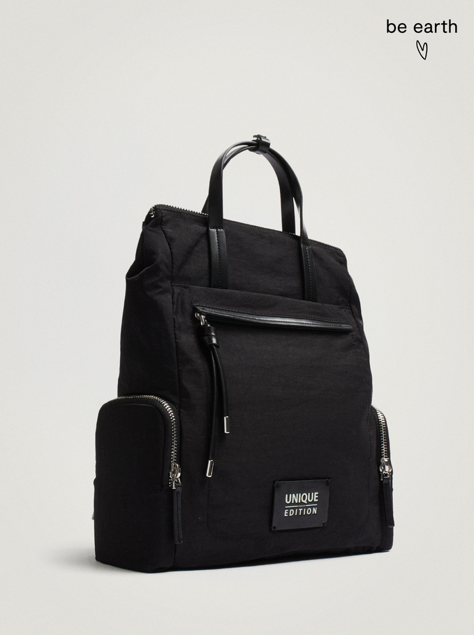 Nylon Backpack Made From Recycled Materials, Black, hi-res