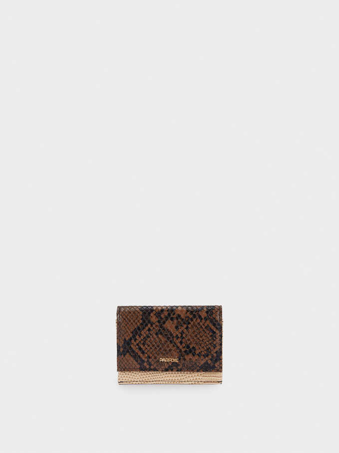 Embossed Animal Print Card Holder, Black, hi-res