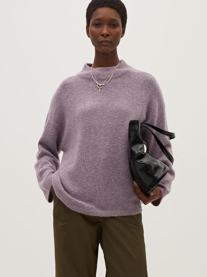 Knitted Perkins Neck Sweater, Violet, hi-res