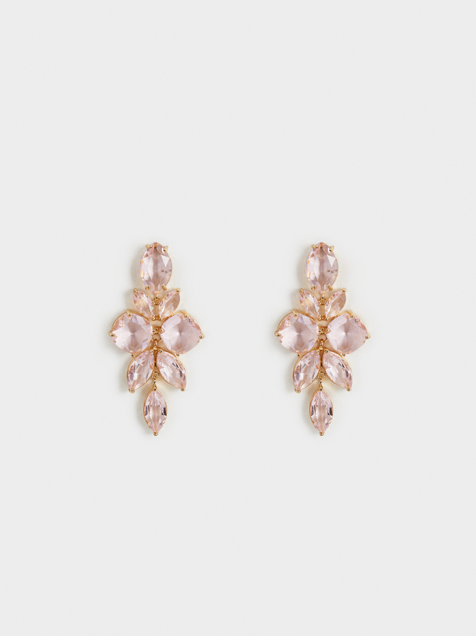 Sparkling Long Earrings, Pink, hi-res