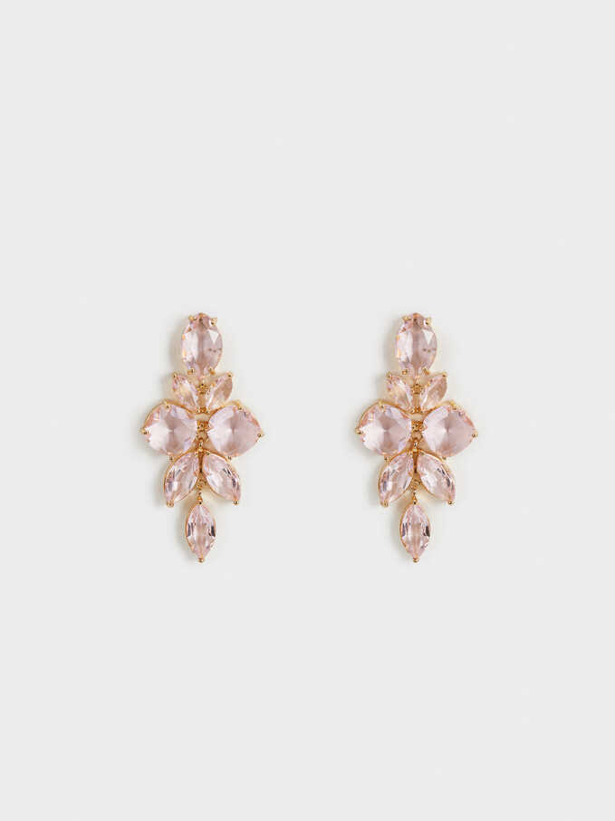 Sparkling Long Earrings, Pink, hi-res