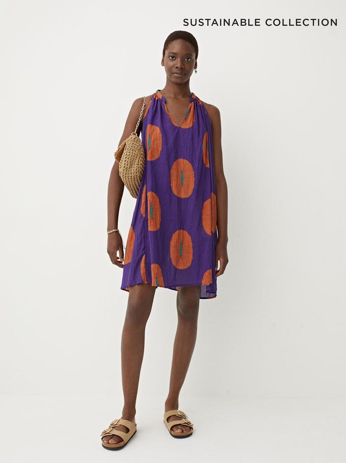 100% Cotton Printed Dress, Purple, hi-res