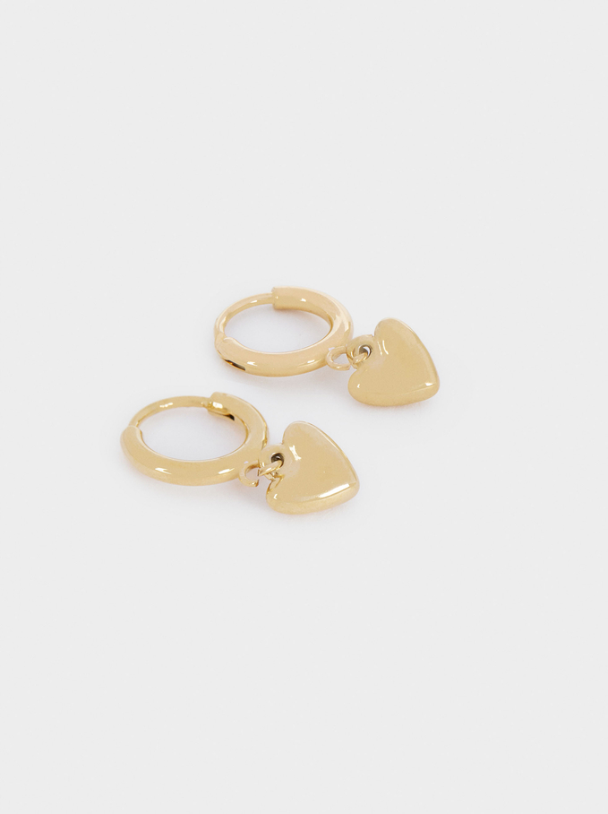 Stainless Steel Short Hoop Earrings With Heart, Golden, hi-res