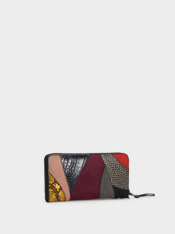 Large Patchwork Purse, Black, hi-res