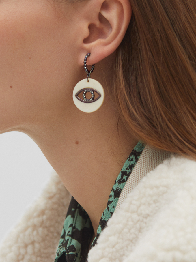 Medium Hoop Earrings With Eyes And Multicolour Crystals, Multicolor, hi-res