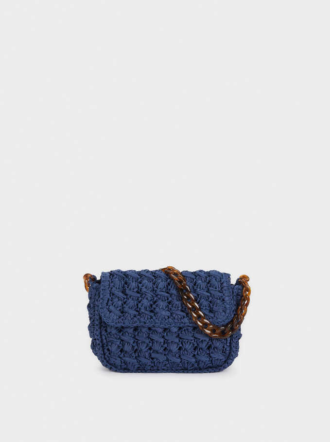 Crossbody Bag Made Of Braided Raffia, Blue, hi-res