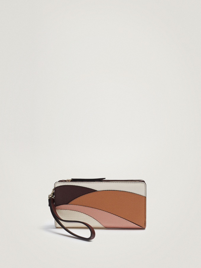 Long Patchwork Wallet, Pink, hi-res