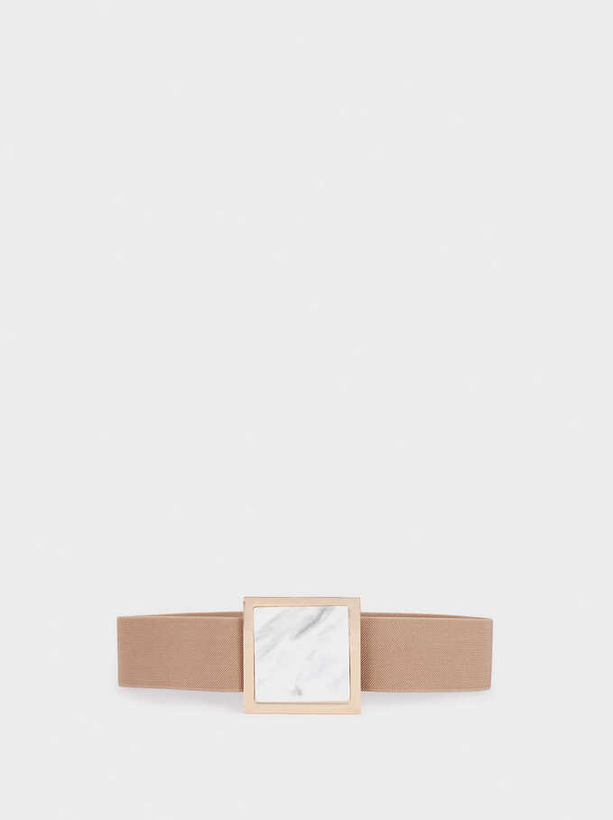 Wide Elastic Belt , Beige, hi-res