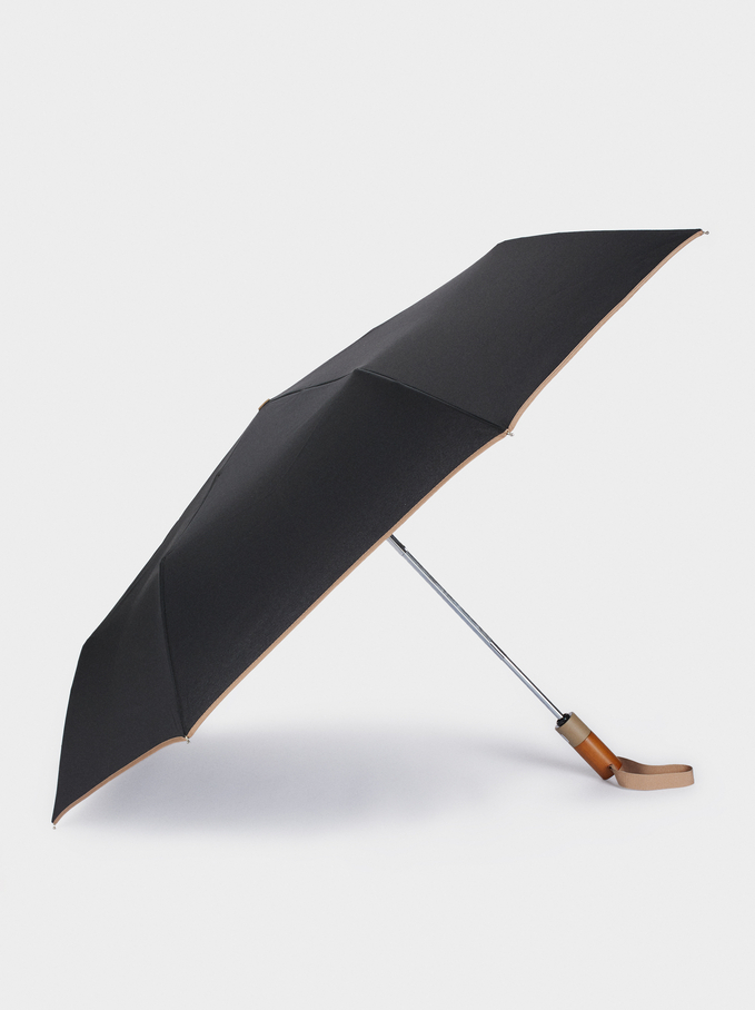Small Folding Umbrella, Black, hi-res