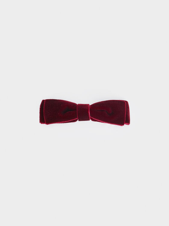 Velvet Bow Hair Slide, Bordeaux, hi-res