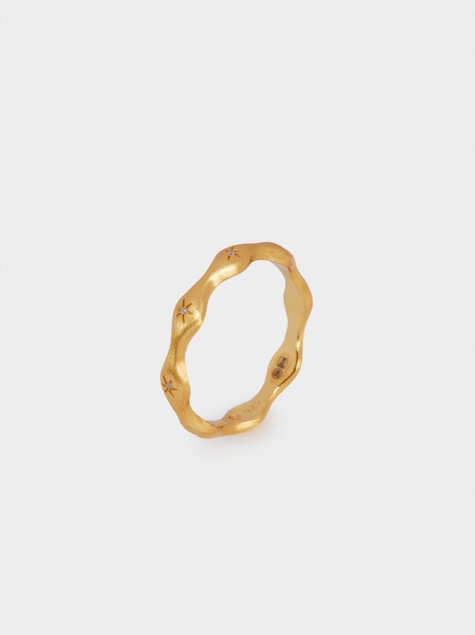 925 Silver Stars Ring, Golden, hi-res
