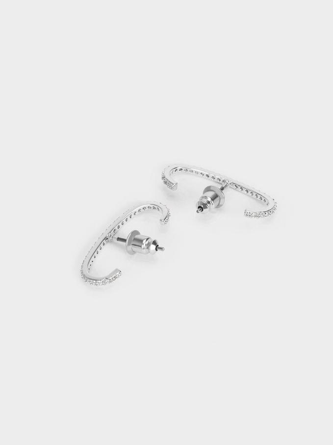 Stud Earrings With Zirconia, Silver, hi-res