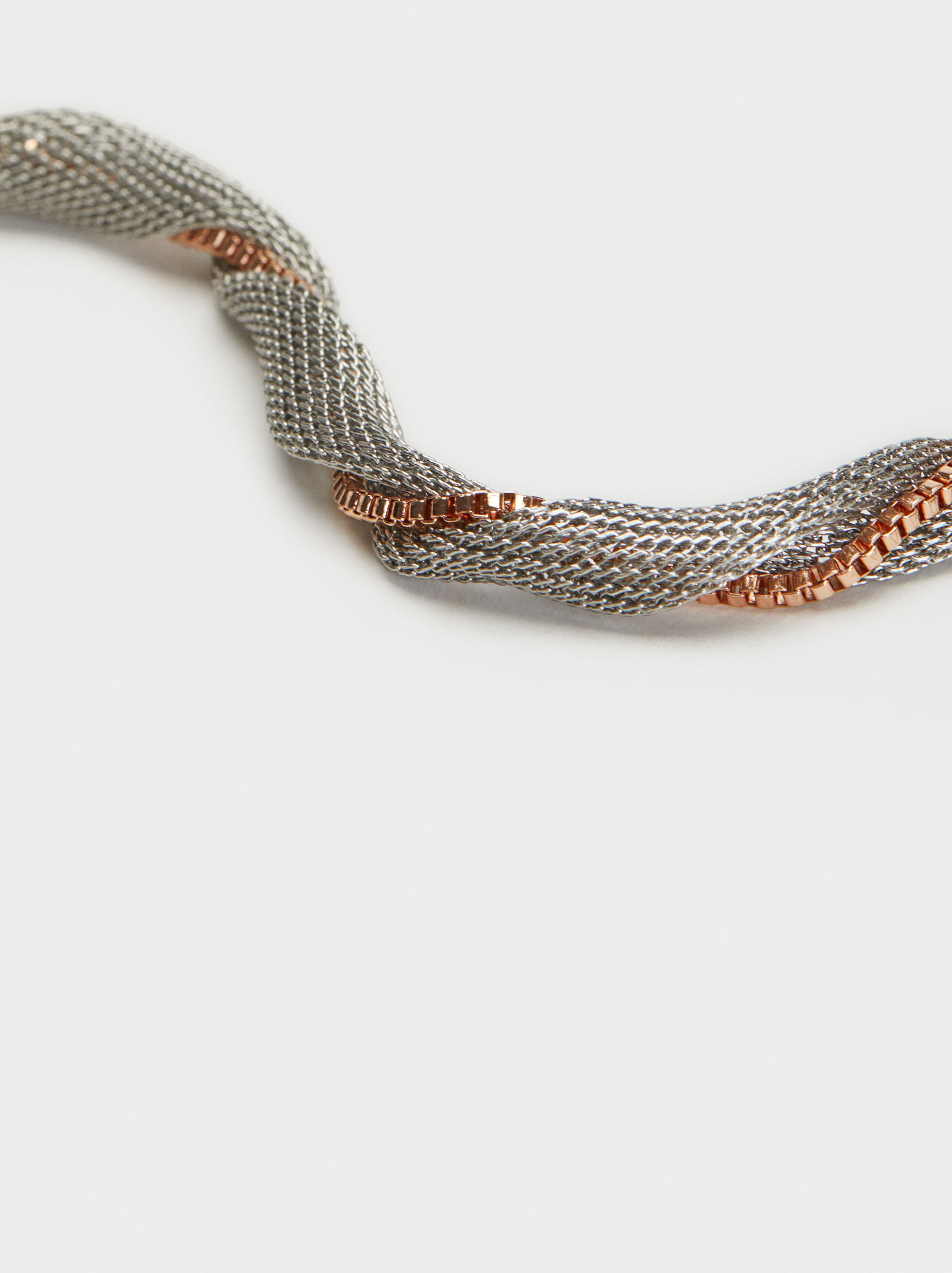 Metallic Mesh Short Necklace, Multicolor, hi-res