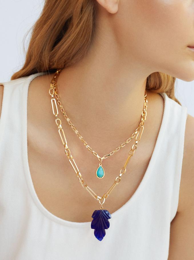 Set Of Necklaces With Leaf Pendants, Golden, hi-res