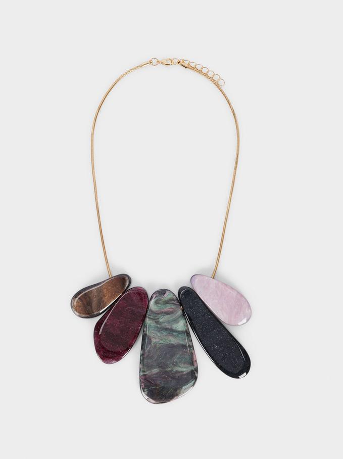 Collier Court À Pendentifs, Multicolore, hi-res