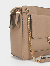 Embossed Shoulder Bag, Brown, hi-res