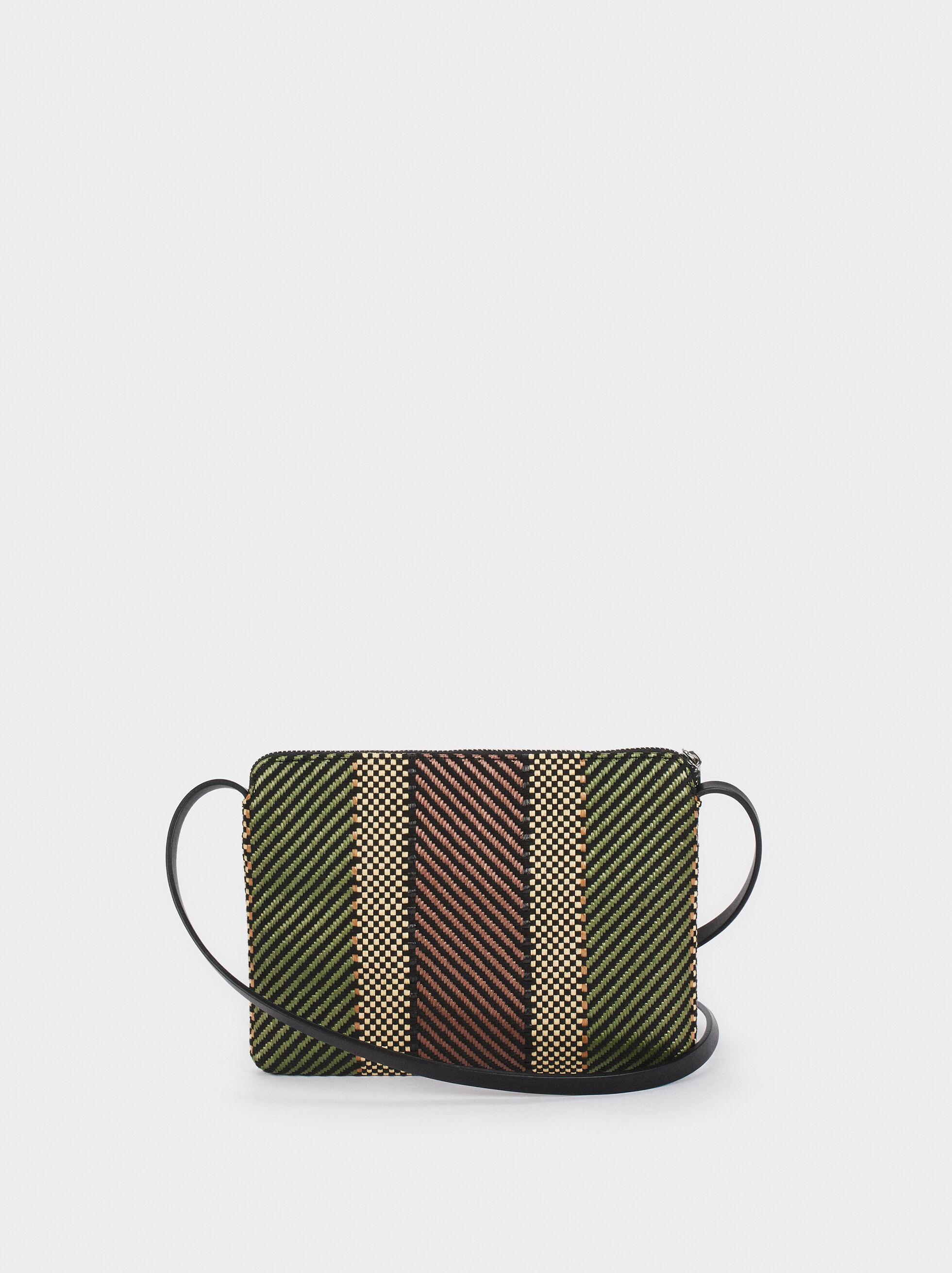 Braided Fabric Crossbody Bag, Khaki, hi-res