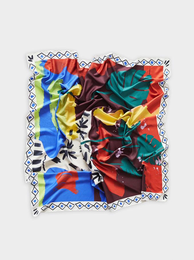 Foulard Carré Imprimé Feuilles, Multicolore, hi-res