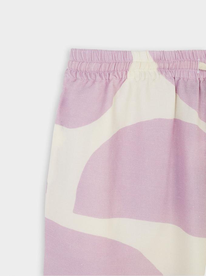 Pantalón De Lino Estampado, Crudo, hi-res
