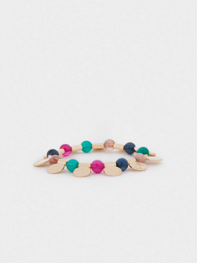 Elasticated Bead Bracelet, Multicolor, hi-res
