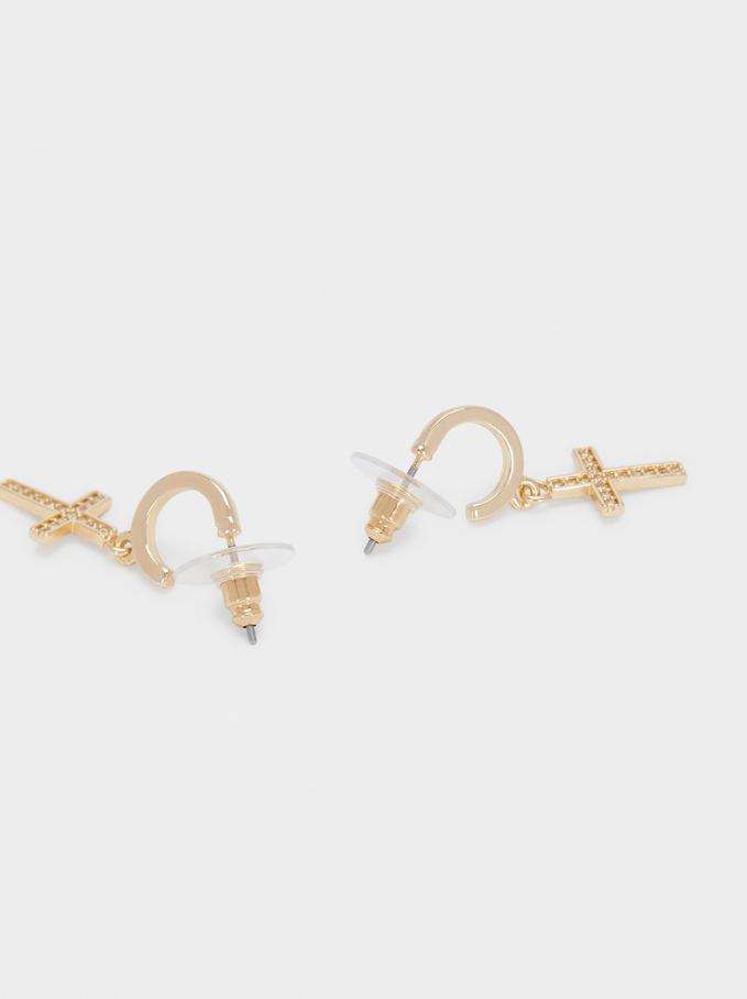 Short Hoops With Cross And Zirconia, Golden, hi-res