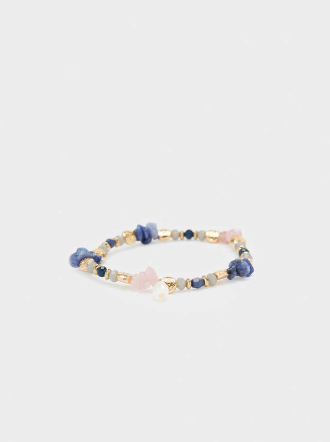 Elasticated Bracelet With Multicolour Stones, Golden, hi-res