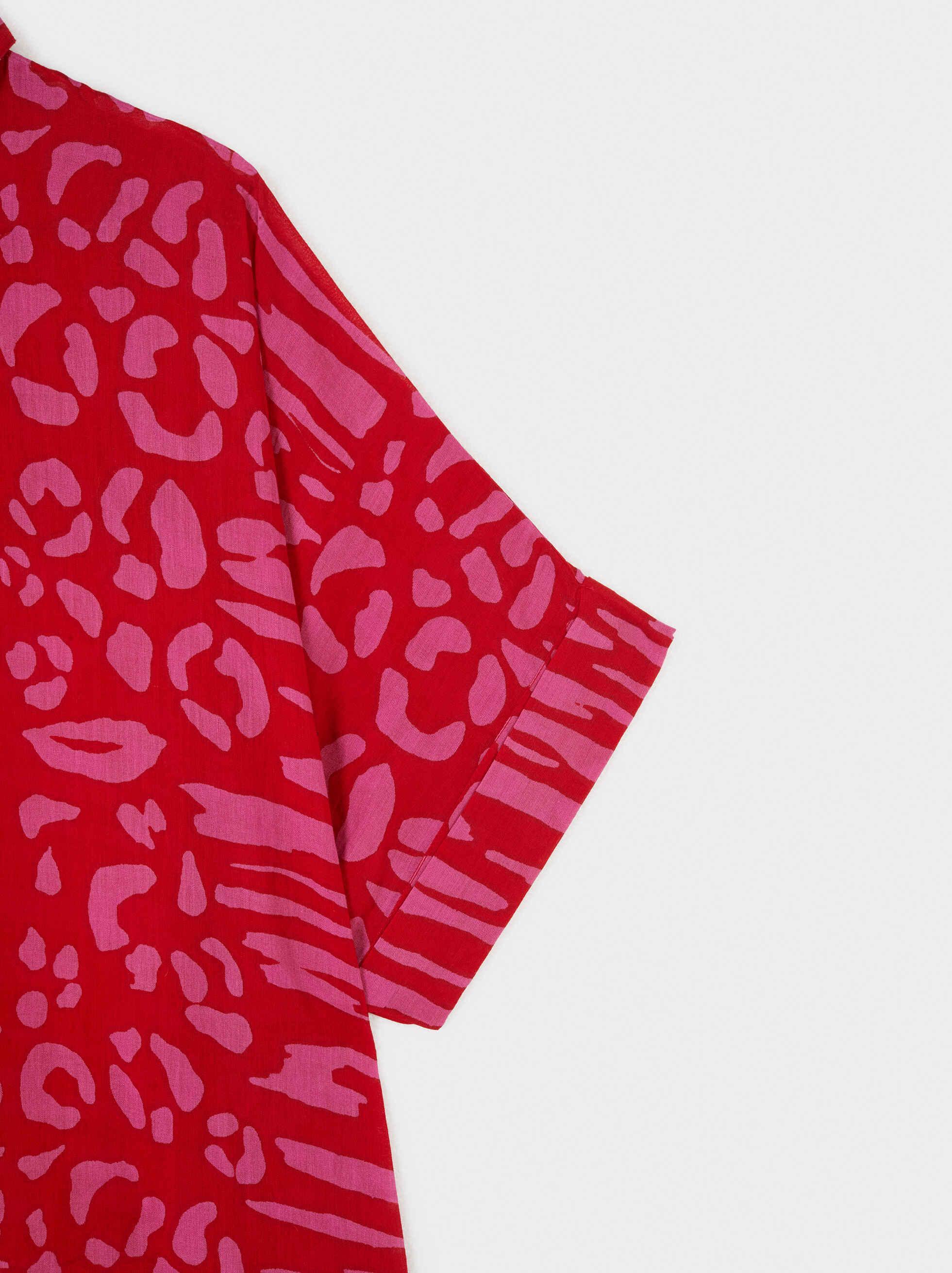 Camisa Oversize Estampada , Rojo, hi-res