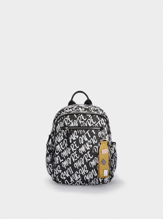 Printed Nylon Backpack, Black, hi-res