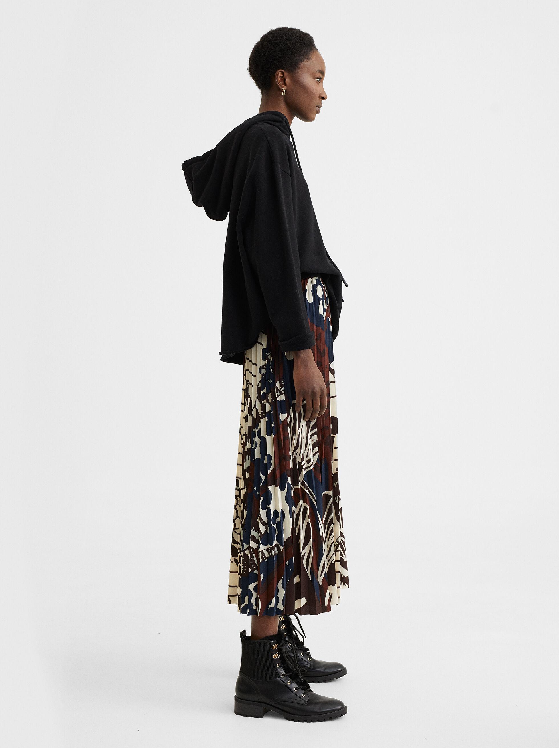 Printed Midi Skirt, Multicolor, hi-res