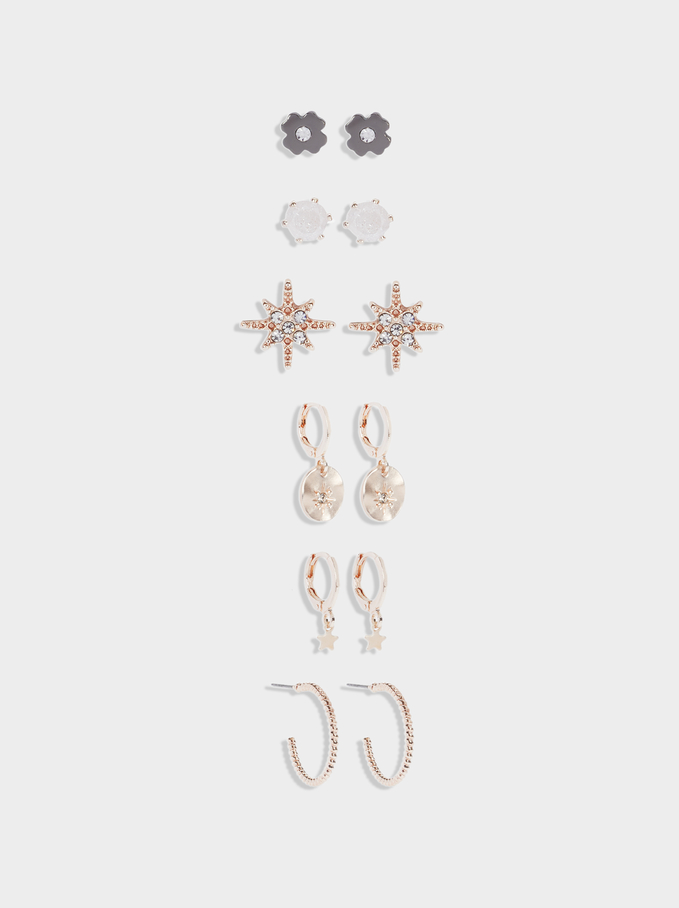 Set Of Earrings With Charms, Orange, hi-res