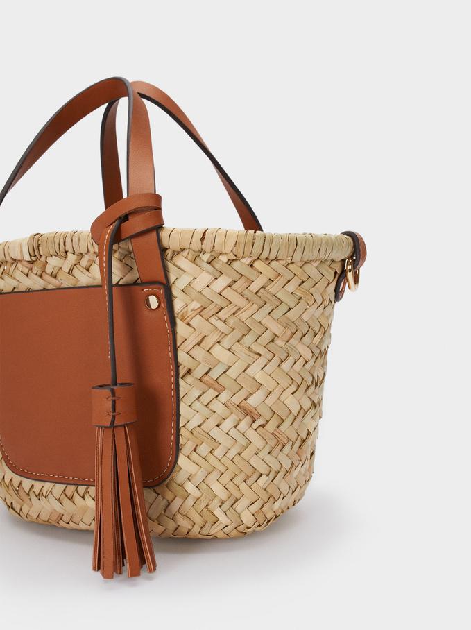 Textured Raffia Tote Bag, Camel, hi-res