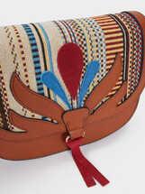 Bolso Bandolera Tejido Hilo Multicolor, Camel, hi-res