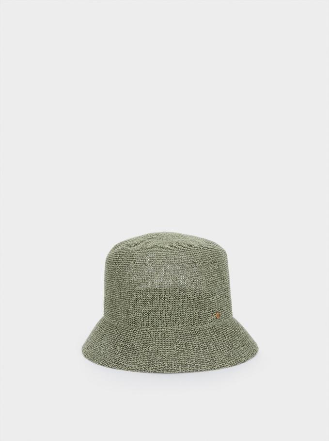 Chapeau Cloche En Maille, Vert, hi-res