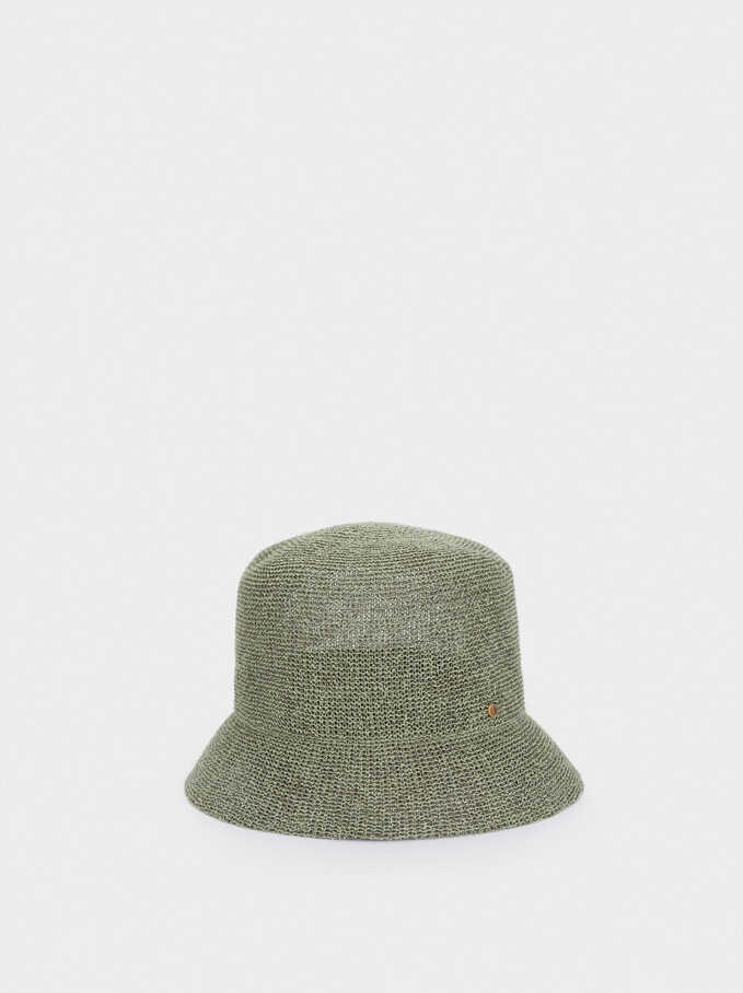 Knitted Cloche Hat, Green, hi-res