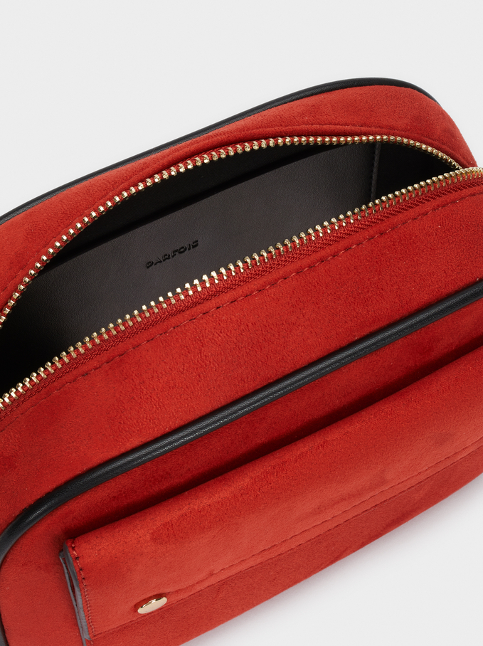 Faux Suede Crossbody Bag With Contrast Strap, Brick Red, hi-res