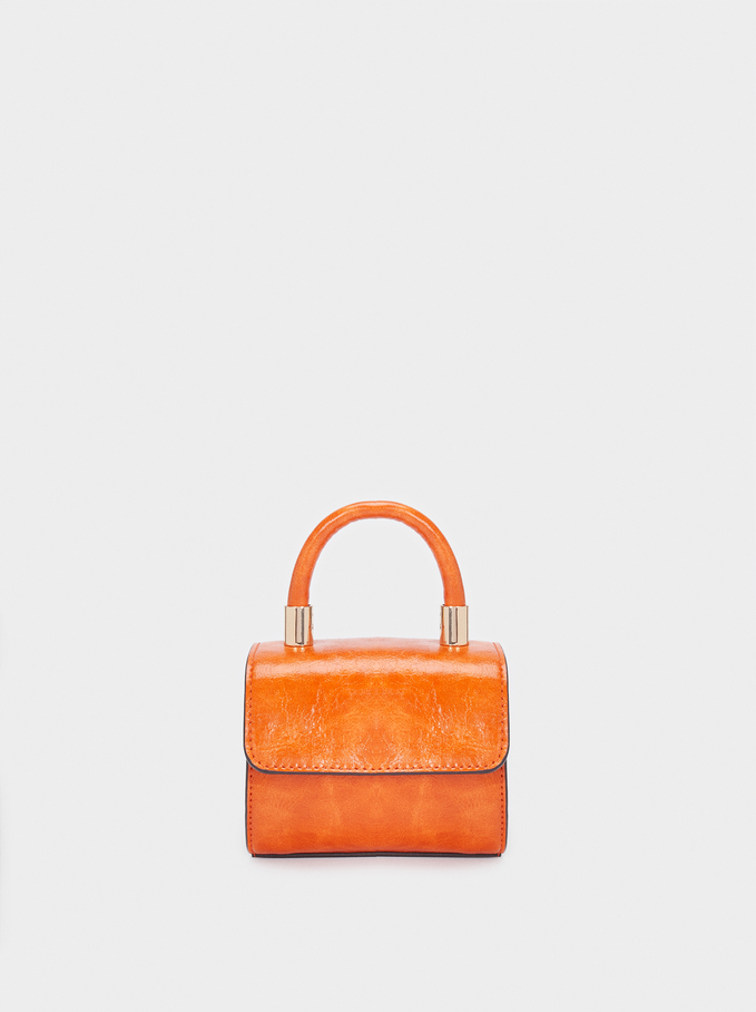 Crossbody Bag With Front Flap Fastening, Orange, hi-res