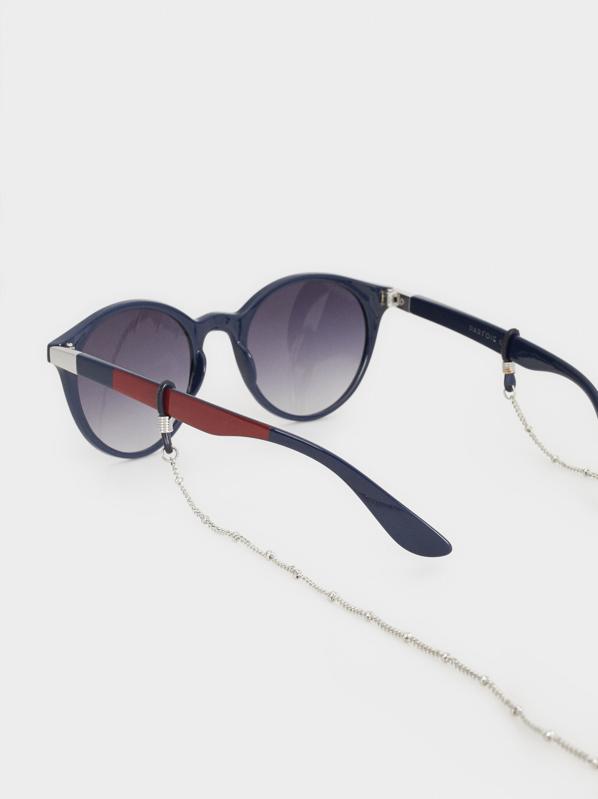 Round Sunglasses With Chain, Navy, hi-res