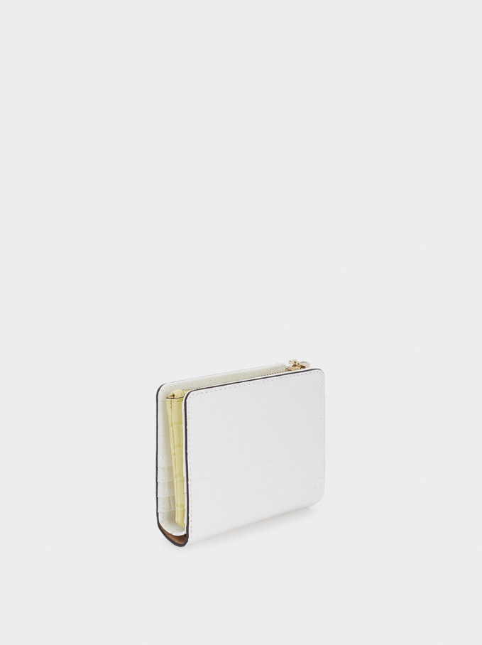 Embossed Animal Print Compact Purse, White, hi-res