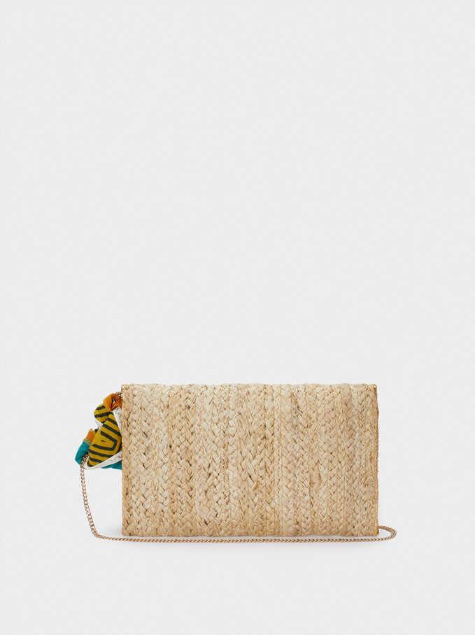 Raffia Textured Envelope Party Bag, Ecru, hi-res