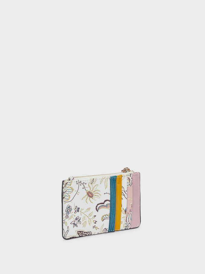 Floral Print Card Holder With Purse, Ecru, hi-res