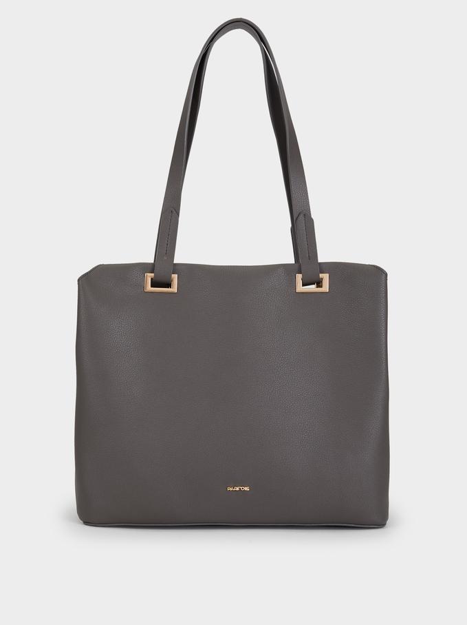Metallic Detail Shopper, Grey, hi-res