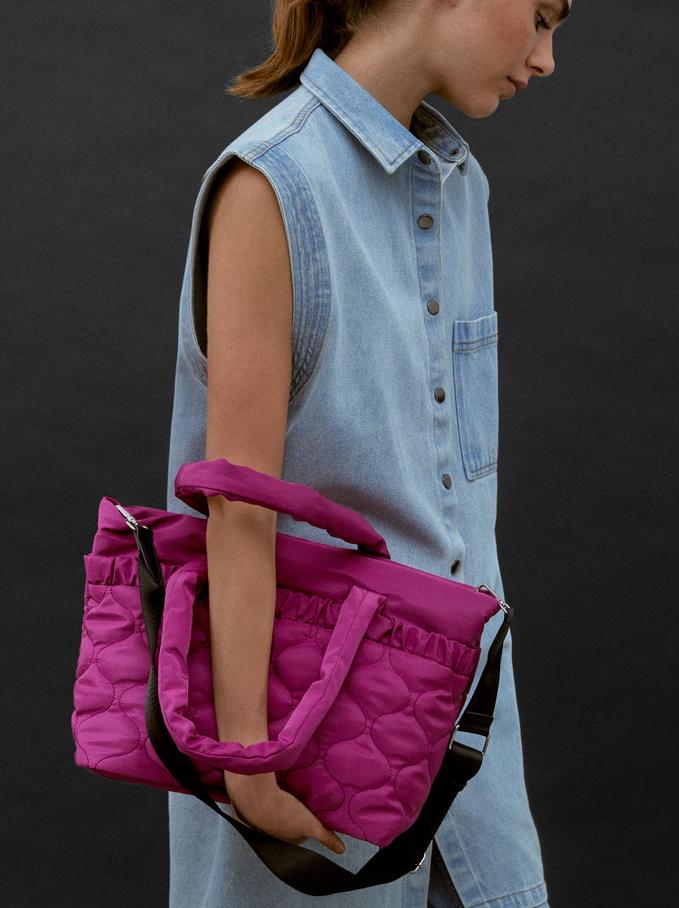 Nylon Tote Bag With Pleats, Pink, hi-res